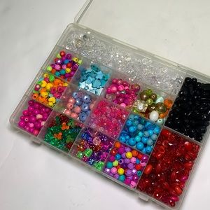 Box of multicolored beads lot